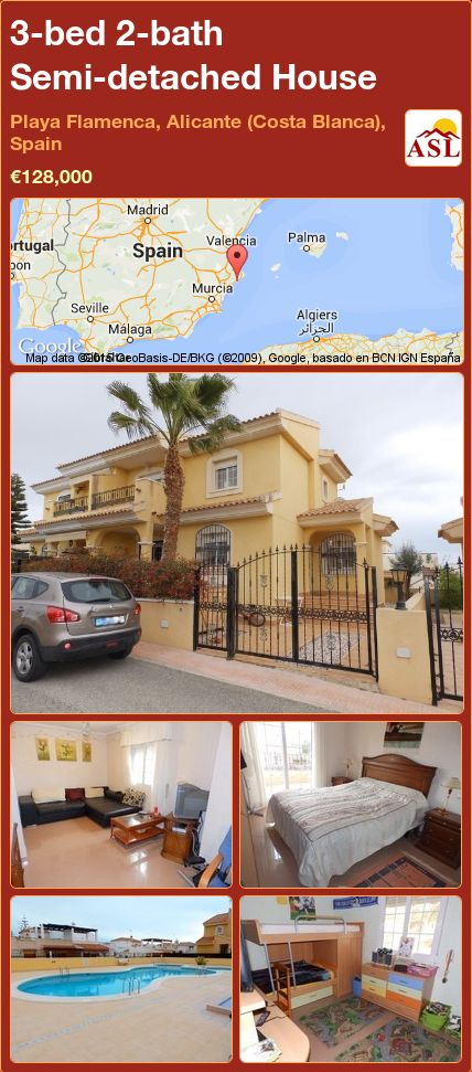 3-bed 2-bath Semi-detached House in Playa Flamenca, Alicante (Costa Blanca), Spain ►€128,000 #PropertyForSaleInSpain