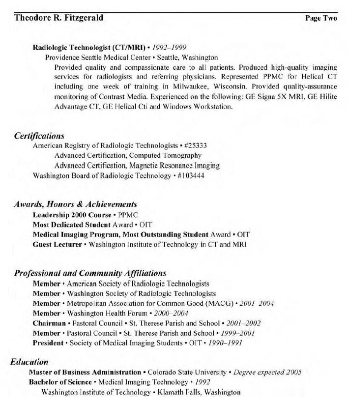 7 best info images on Pinterest Resume examples, Sample resume - radiology tech resume