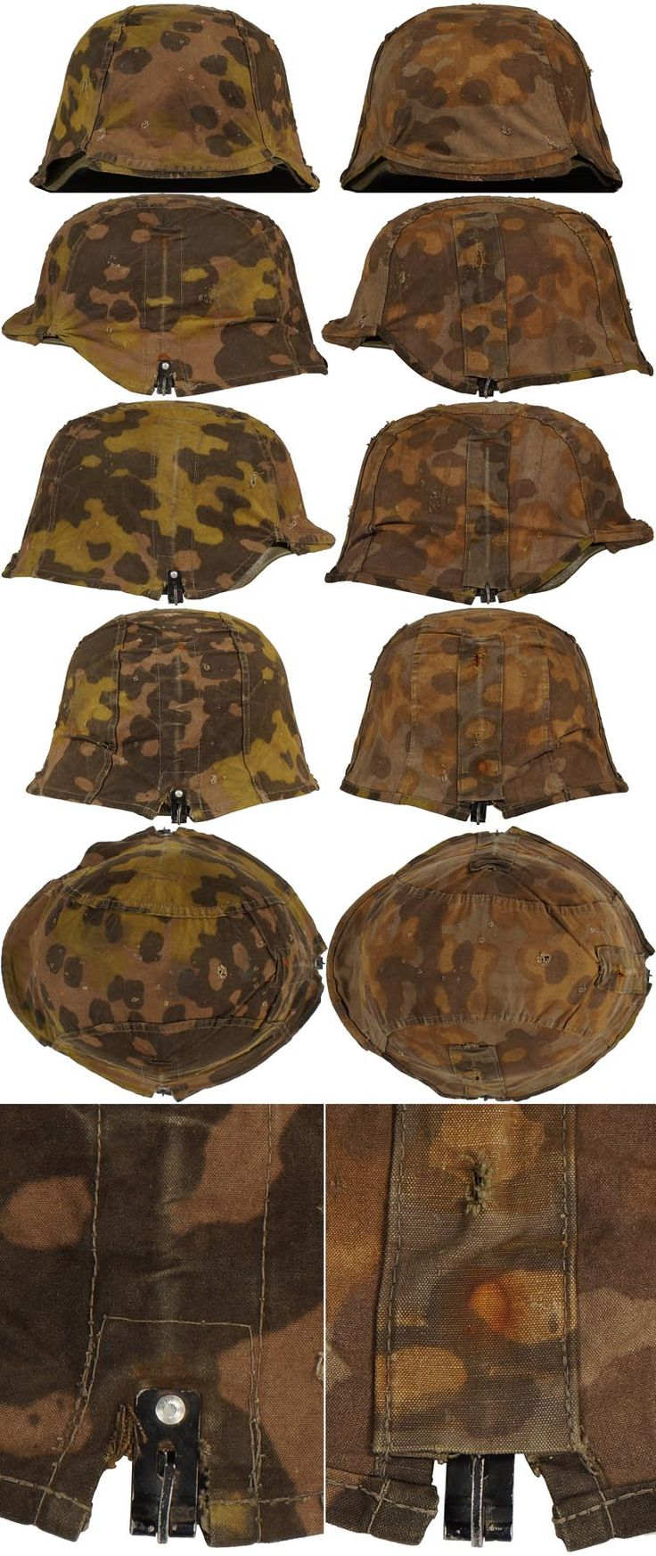 First pattern, reversible, SS helmet cover with rivetted on, black anodized, aluminum rocker clips and no foliage loops  Check out my website for more original WW2 items for sale. We also buy your WW2 material  http://www.vantiques.nl