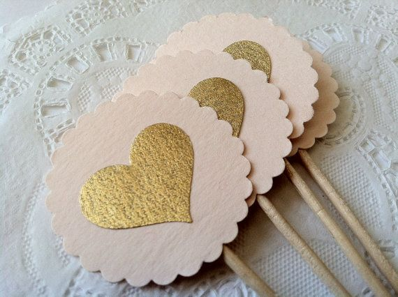 25 Heart Cupcake Toppers in Blush and Gold.  Extra Long Elegant Topper for Wedding, Bridal or Baby Shower, Birthday Parties on Etsy, $21.00
