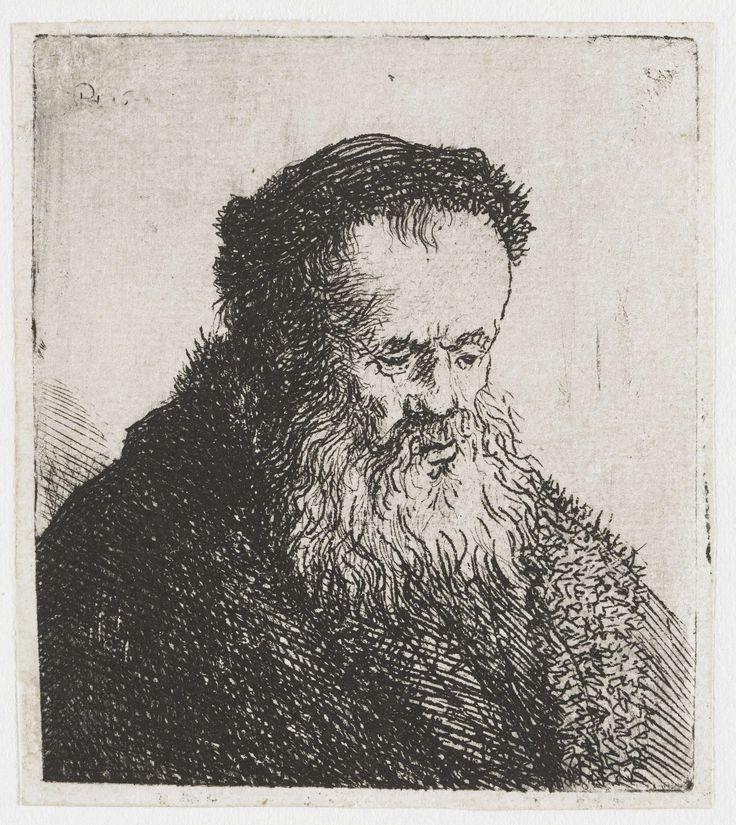 Rembrandt Harmensz. van Rijn | Gebaarde oude man met hoog voorhoofd, Rembrandt Harmensz. van Rijn, 1630 - 1639 |