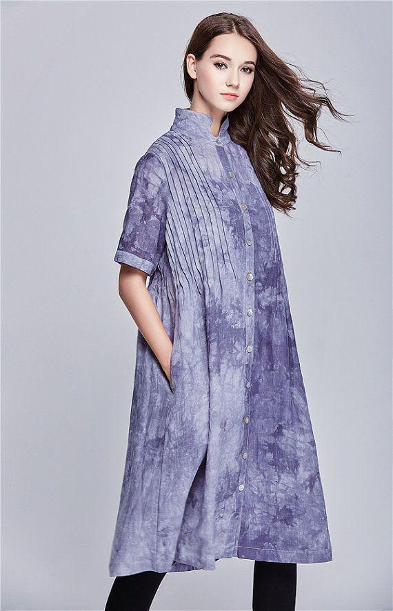 Vestido de lino - Ropa Vestido Largo Gabardina en Grey Coat Dress volante Maxi Dress Mujeres Abrigo - Custom Made