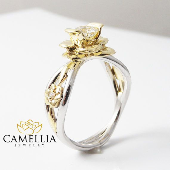 Stunning feminine and breathtaking! This unique engagement ring is crafted in solid 14k white & yellow gold with a 1/2 carat natural conflict free diamond set into a gorgeous floral basket setting on top of a diamond pebble band. The timeless and classic design of this diamond ring will make your engagement unforgettable. #SKU: VZ-0001 Metal: 14K Two Tone Gold (Available Also in 14K Yellow White or Rose gold - No Extra Charge) Certificate: CJC (Camellia Jewelry Certificate) Ring Size: 6.5...