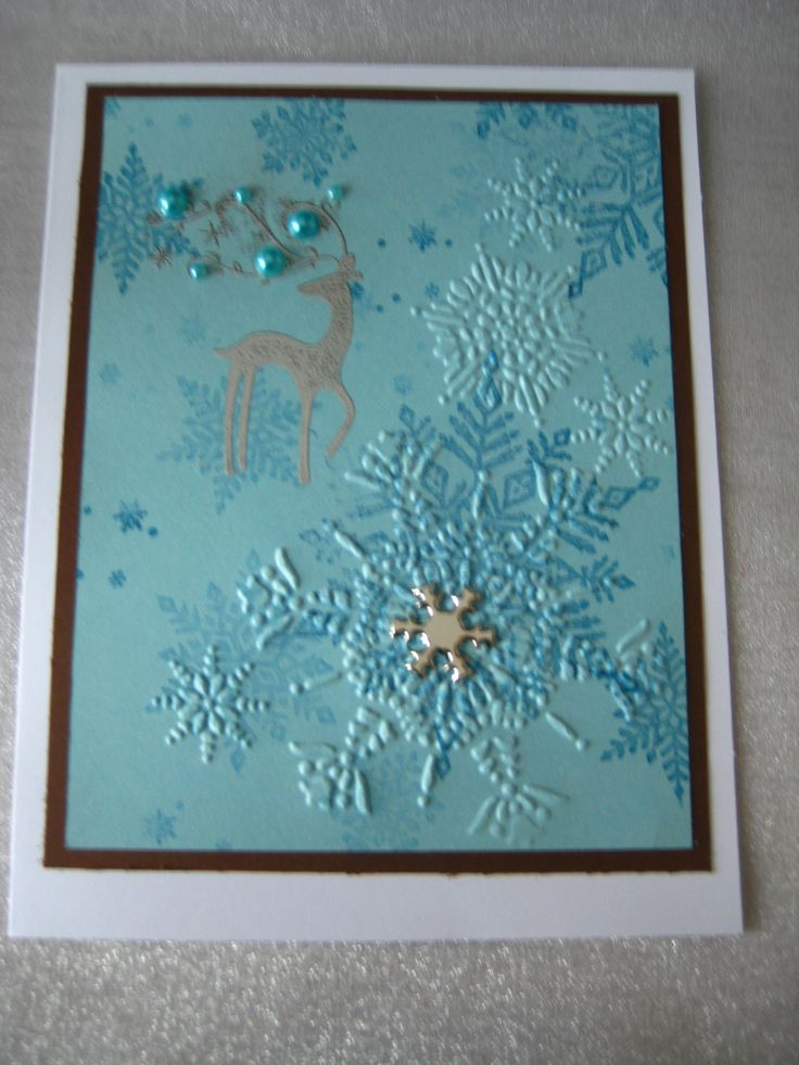 turquoise white and silver snowflakes and silver Stampin Up Dasher