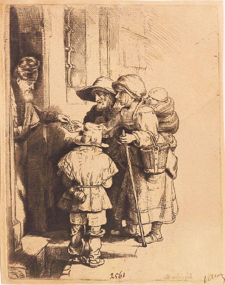 """Cerșetori la poartă (Milostivirea), 1648, semnată dreapta jos: Rembrandt, nedatată. Imagine din colecțiile Bibliotecii """"V.A. Urechia"""" Galați."""