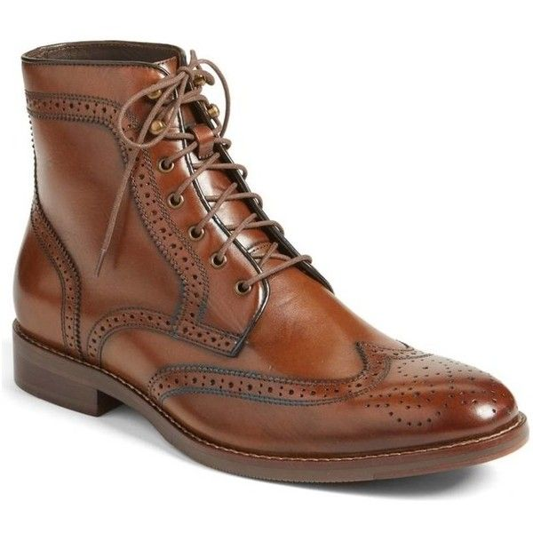 Men Brown Wingtip Brogue Lace Up Boots, Men Ankle Leather Boot, Mens... (€145) ❤ liked on Polyvore featuring men's fashion, men's shoes, men's boots, mens brown brogues, mens brogue boots, mens leather boots, mens leather shoes and mens wing tip shoes