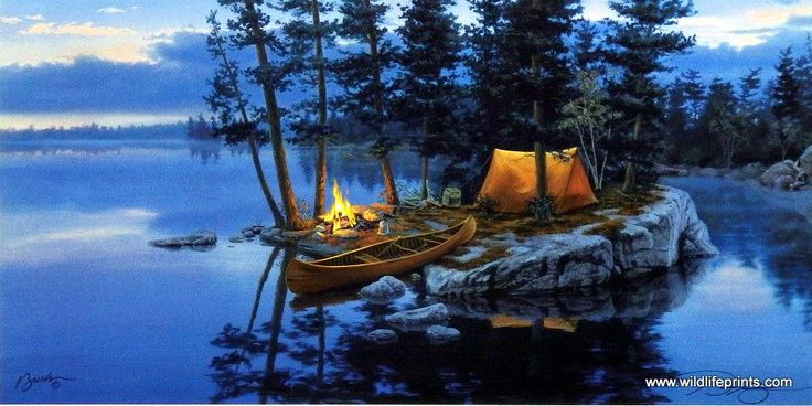 Someone has found an isolated island of rocks in the river on which to pitch a tent and build a campfire. Another great camping and canoeing scene from Darrell Bush.
