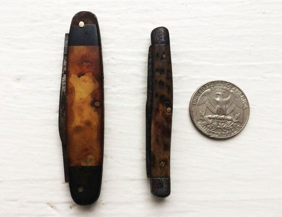 Pair Antique Bone Pocket Knives 100 Years Small