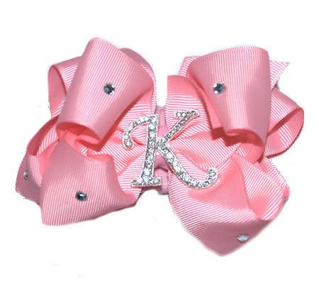 Personalized Bling Initial Pink Hair Bow-personalized bling initial pink hair bow,girls hair bow,rhinestone bling hair bow,kids hair bows