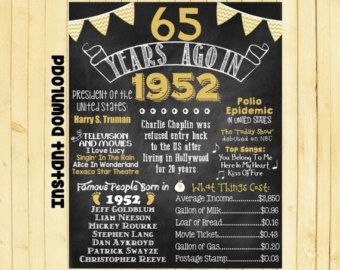65th Birthday Chalkboard 1952 Poster 65 by ChalkingItUpBoards