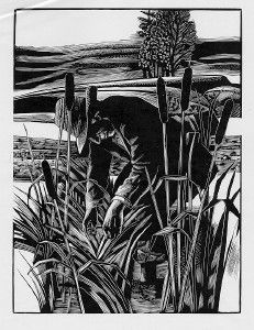 Thoreau in Cattails by Michael McCurdy