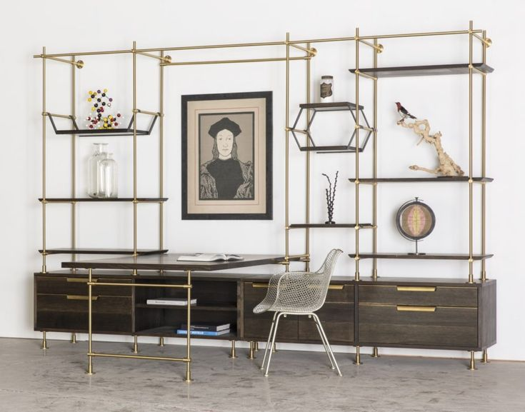 shelving systems for home office. amuneal the collectoru0027s shelving system brass work station customize your desk systems for home office