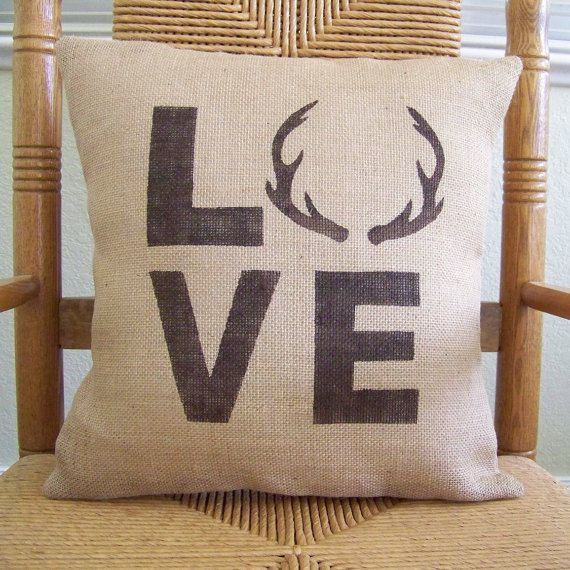 Antler love pillow Gift for Dad Stenciled by KelleysCollections