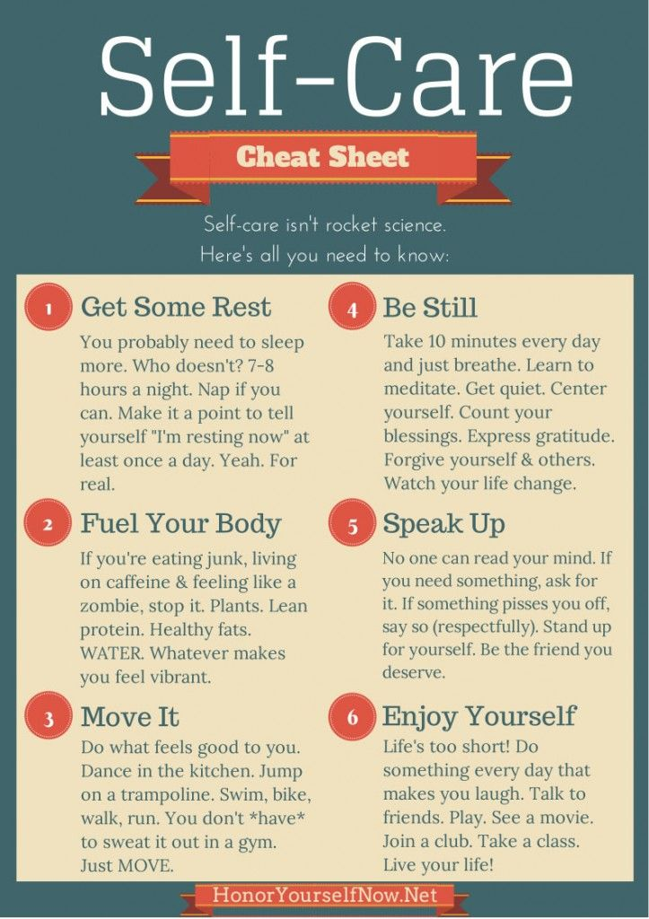 Self Care Cheat Sheet - Self-Care isn't all that hard after all!