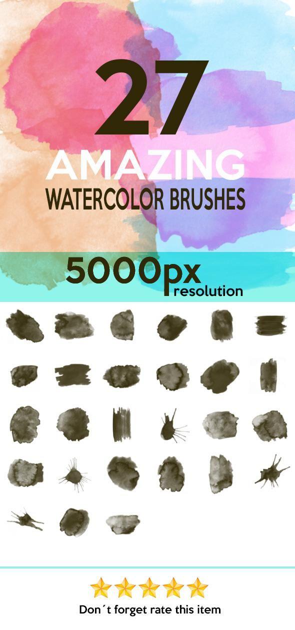 27 Watercolor Brushes Hq Photoshop Photoshopbrushes Adobe