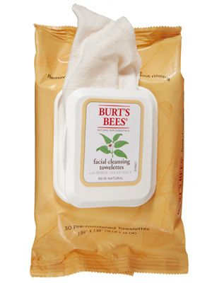 Burt's Bees Facial Cleansing Towelettes, $6.  No sticky residue... No harsh chemicals...just a fresh smelling clean.