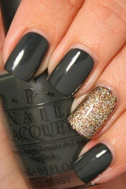 Black nails with a gold sparkle accent nail. Xo, LisaPriceInc.