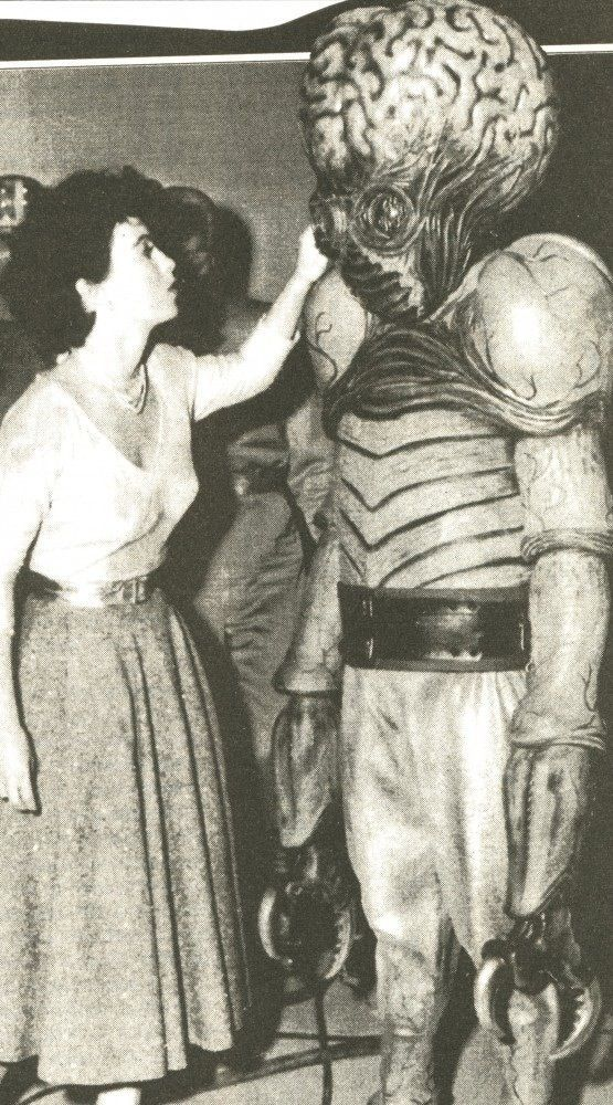 This Island Earth (1955) -- behind the scenes with Faith Domergue and Mutant.