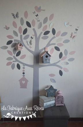 Stickers arbre sur le thème du hibou, des papillons et des oiseaux  dans des teintes de rose poudré, argent et gris  Taille : environ 2 m par 1.5 m  Idéal pour agrémenter l - 17701869