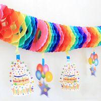 Favo de mel bolo da festa de aniversário forma bandeira 3.5 M DIY festa de aniversário colorido guirlandas de papel partido boda suprimentos…
