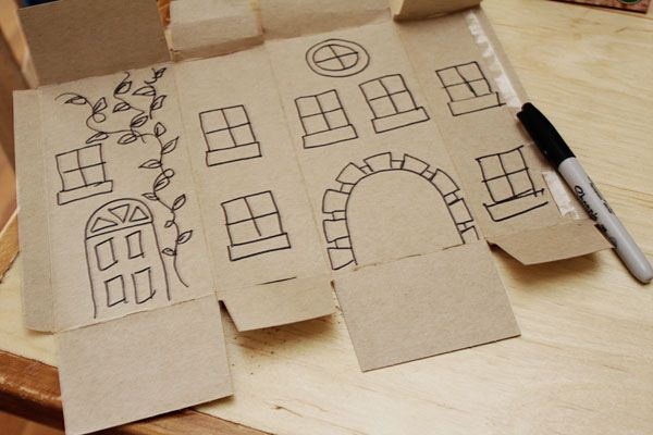 Inside out product boxes turned into buildings.