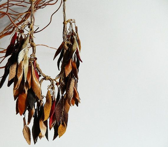 Autumn leaves leather necklace with glass beads. by vittrojewelry
