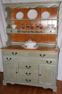 Buffet With Hutch Painted In Annie Sloan Chateau Grey Over Duck Egg Blue My Painted Projects