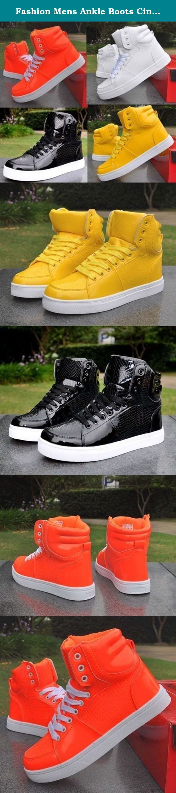 Fashion Mens Ankle Boots Cingulate Hip-hop Korean High shoes Casual Shoes. Material: Leather Color:Black.Yellow.White.Orange Size: 39/40/41/42/43/44/45.