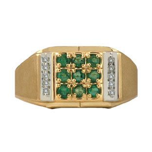 Diamond & Yellow Gold Men's Emerald Ring Gemologica.com offers a unique selection of mens gemstone and birthstone rings crafted in sterling silver and 10K, 14K and 18K yellow, white and rose gold. We have cool styles including wedding and engagement rings, fashion rings, designer rings, simple stone and promise rings. Our complete jewelry collection of gemstone rings for men can be seen here: www.gemologica.com/mens-gemstone-rings-c-28_46_64.html