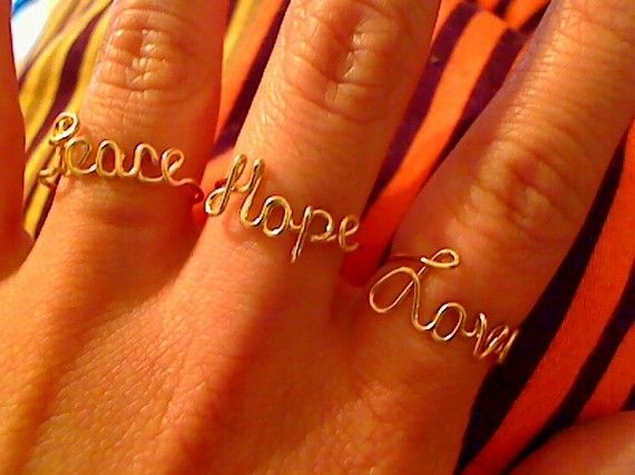 Too cute!: Peace Hope Lov, Hope Rings, Wire Rings, Hope Love, Fillings Peace, Gold Fillings, 14 Karate, Karate Gold, Adjustable 14