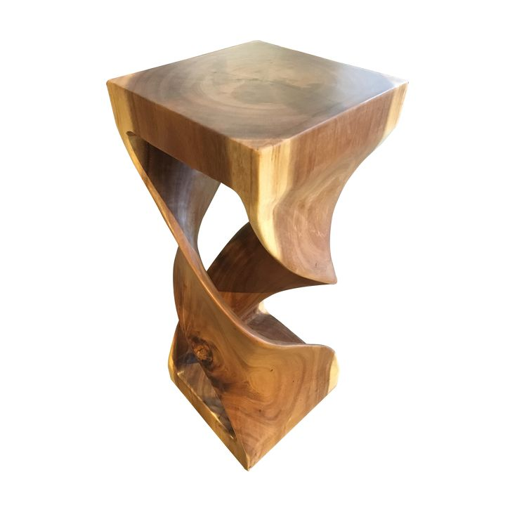 Bar Stool - Double Wave. Stool intricately carved in a wavy design.