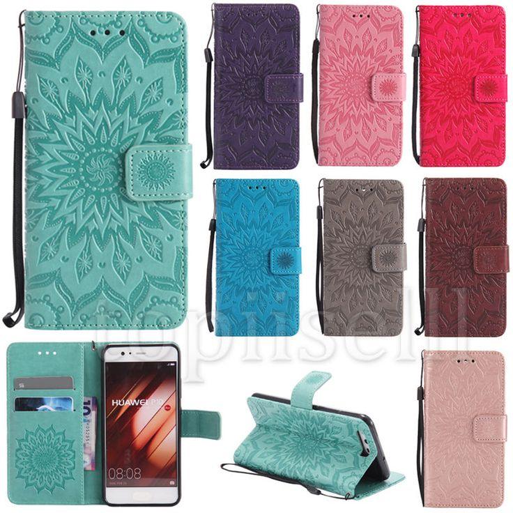 Flip Embossed PU Leather Lot Card Pocket Wallet  Stand Strap Case Cover KT
