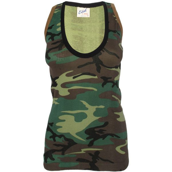 Edith A. Miller Camo Scoop Tank ($46) ❤ liked on Polyvore featuring tops, shirts, tank tops, tanks, cotton racerback tank tops, camo shirts, cotton racerback tank, green shirt and racerback tank top