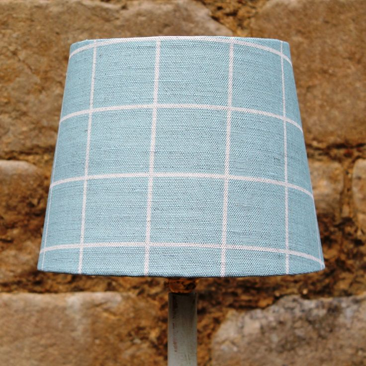 Duck Egg Blue Checkered Linen French Tapered Light Shade Sophisticated And Unique Designs From