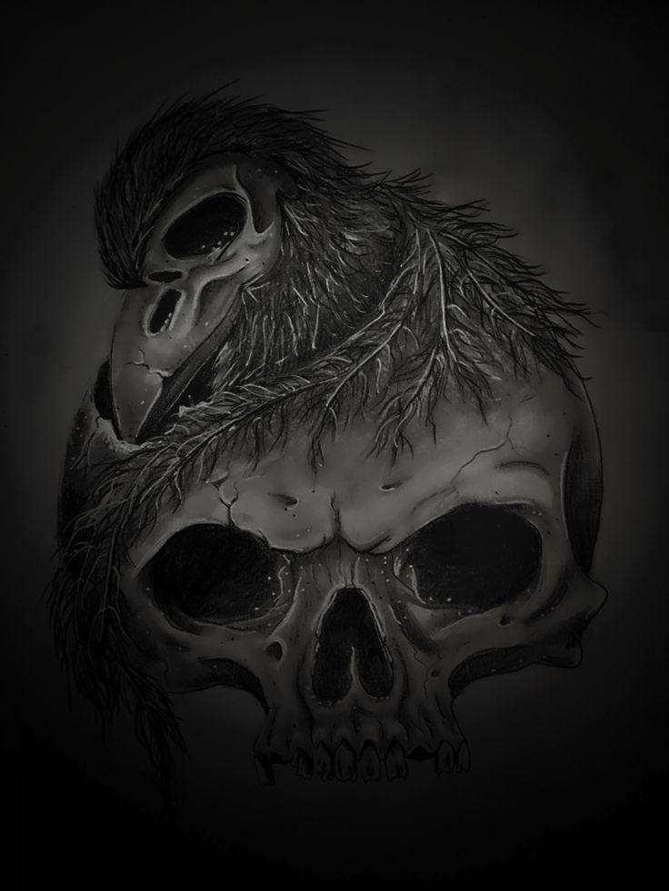 Skull drawing by Patti