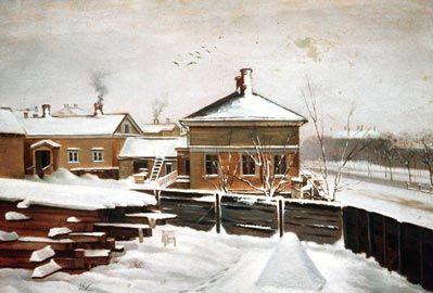 Magnus von Wright, maalaus 1858. Senaattori Sackleenin talo, nykyisen Hotelli Marskin paikalla.