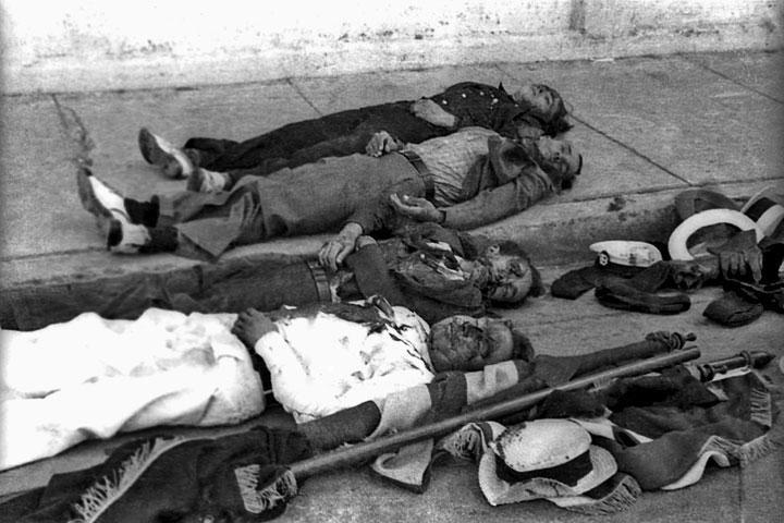 Cuatro víctimas de la masacre; fotógrafo: Carlos (Aguilita) Torres Morales, publicada en el periódico El Imparcial, 1 de abril de 1937