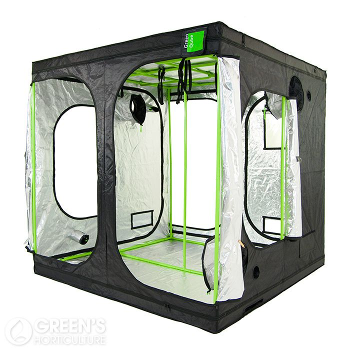 The Green Qube GQ240 grow tent is a prime example of innovative design and superior build quality. Measuring 240cm x 240cm x 220cm, this large tent comes packed with impressive features, making Green Qube a firm contender as a market leading grow tent manufacturer. An exclusive feature of Green Qube grow tents are uplift bars; an ideal solution for growers looking for clean and tidy installation of gravity-fed hydroponics systems.