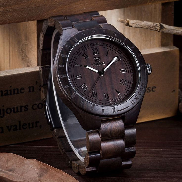 Uwood Handmade Black Men's Wooden Watches Natural Sandal Wood Quartz Wristwatch #UWOOD #Casual - mens watches for women, compare mens watches, citizen mens watches