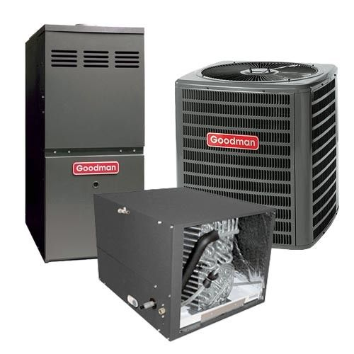 Goodman 2.5 Ton 14.5 SEER 80% AFUE Gas Furnace and Air Conditioner System - Horizontal