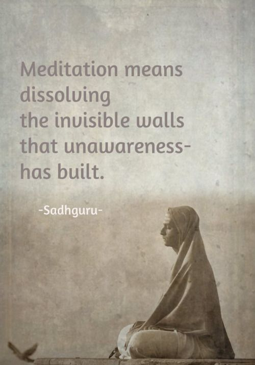 Meditation Means Dissolving the Invisible Walls That Unawareness Has Built. Sadhguru