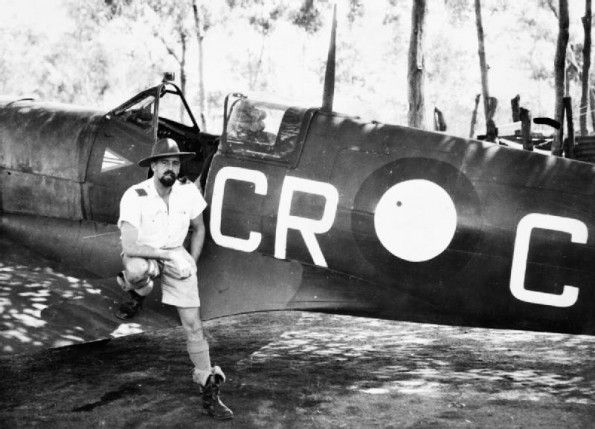 WCDR Clive Caldwell, RAAF, and Spitfire.
