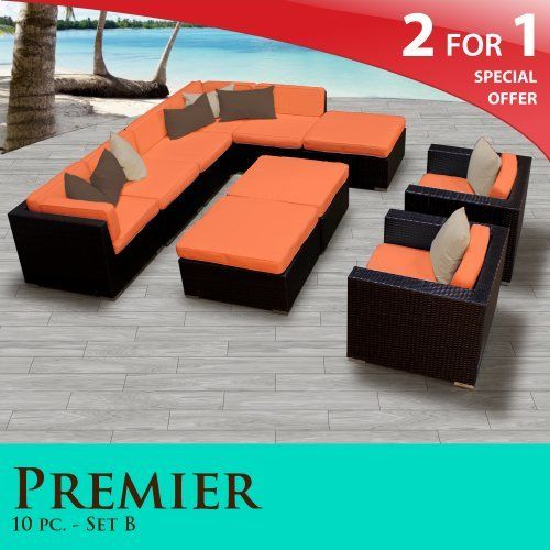 """Premier Outdoor Wicker 10 Piece Patio Set Tangerine Covers -10B by TK Classics. $2235.00. """"No Sag"""" solid wicker bottoms with extra flexible strapping providing long-lasting suspension. 4"""" Welted cushions for a luxurious look and feel. Affordable and comfortable Modular Furniture allows for endless arrangement possibilities. Versatile design for ANY patio size. Fully Assembled - ready to relax and enjoy. 2 for 1 Special: Purchase 1 of our Classic Patio Sets and receive a 2nd s..."""