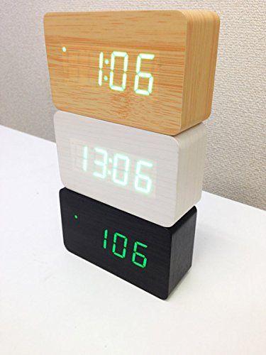 Amazon.co.jp: ワイド版ウッドデジタルクロック 【アラーム&温度計機能付き】LED 木目調 置き時計 (ブラック): パソコン・周辺機器