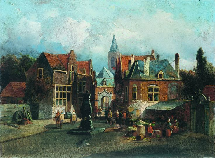 View of Schiedam (1860), Jacobus Adrianus Vrolijk, oil on board, on loan from the Waterford Municipal Art Collection. Selected by Shane O'Sullivan.