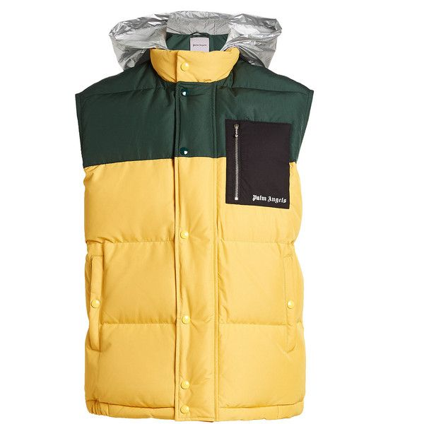 Palm Angels Quilted Down Vest ($650) ❤ liked on Polyvore featuring men's fashion, men's clothing, men's outerwear, men's vests, yellow, mens quilted vest, mens yellow sweater vest, mens vest outerwear, mens vest and mens down vest