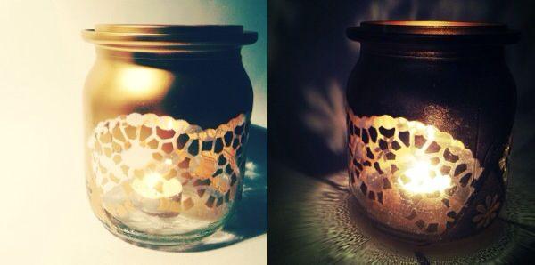 Einweckglas wird Kerzenglas. Mit Sprühlack und Tortenspitze <3  // by cleansweepstuff