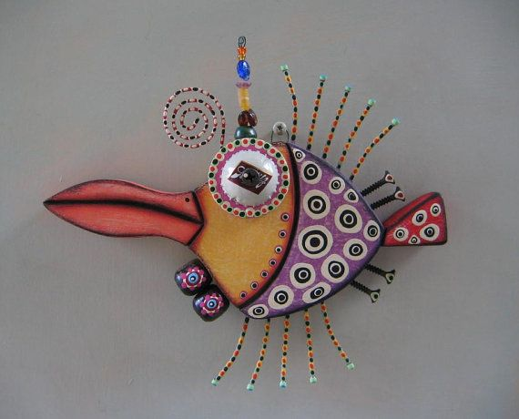 Penguin Fish Original Found Object Wall Art Wood by FigJamStudio, $65.00