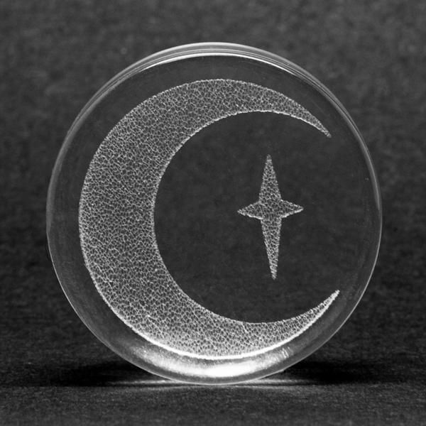 Glass Crescent Moon Plug | UK Custom Plugs - Ear Gauges, Flesh Tunnels for Stretched Ears