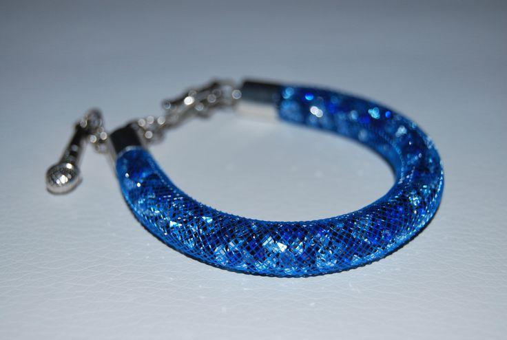 Blue Mesh Beaded Bracelet with charm by BeaduBeadu on Etsy